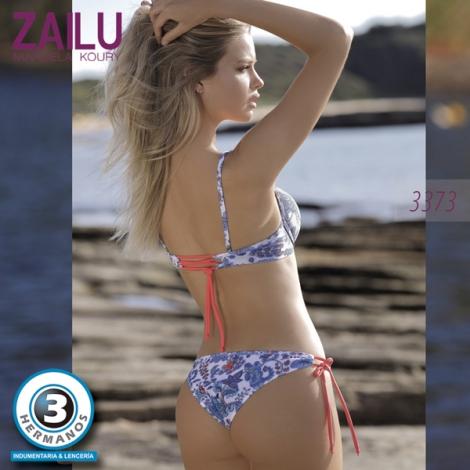 ef768c23b7fa Conjunto en Tricot Estampado de Bikini Push Up con volados y ...